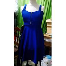 Vestido De Lycra Azul Francia Con Cierre Talle Único