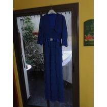 Vestido De Fiesta Talle L Color Azul Francia Divino