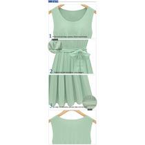 Vestido Plisado Verde Menta De Organza
