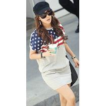 Vestido Usa Flag Bandera Americana Algodon Mujer Importado