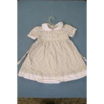 Vendo Vestido Niña Talle 2 Color Beige Con Vivos Blancos