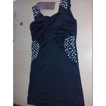 Vestido De Verano Noche Negro Con Perlas