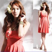 Hermoso Vestido Jersey Seda Con Nido Aveja Color Coral T: M