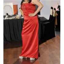Vestido De Fiesta Largo, Seda Rasada. Impecable, Hermoso!!