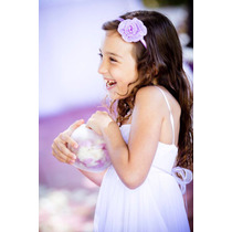 Vestido Fiesta Nena Blanco Detalles Lilas + Tocado Talle 10