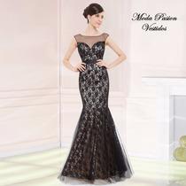 Magnifico Vestido Noche Sirena Encaje Talle M Moda Pasión