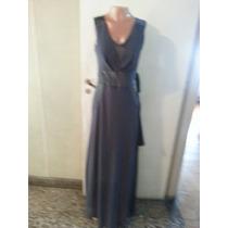 Vestido Largo De Gasa Con Transparencia Con Raso T L $ 860