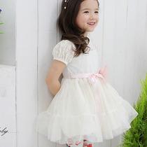 Vestido De Fiesta De Encaje Blanco Y Tules