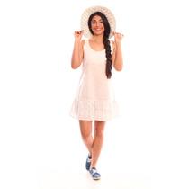 Vestido Blanco Verano Lino Brodery Envio Gratis Valdivia