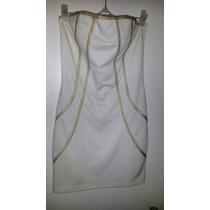 Sexy Vestido De Verano Strapless Con Detalles En Dorado