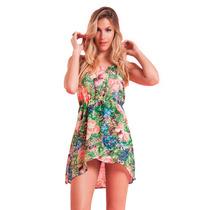 Vestido Fiesta Corto Gasa Estampado Flores Mujer Basilotta