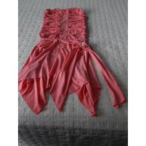 Vestido De Noche Strapless Elastizado Drapeado Rosa