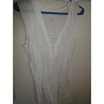 Vestido Importado Blanco T U Playero Hippie 100algod Tunica