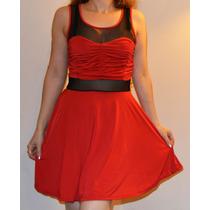 Vestido De Día O Noche Con Transparencia, Rojo, Negro O Azul
