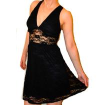 Vestido De Encaje Negro O Coral Con Transparencia, Forrado