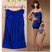 ¡lindo!! Mini Vestido De Jersey Algodón Strapless En T: M.