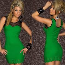 Vestido Mini Jersey De Seda Con Transparencias, Labrado T: M