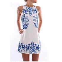 Vestido Importado Blanco Con Azul