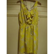 Vestido Amarillo Y Beige S/ Mangas C/ Jabot Forrado Tm