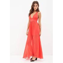 Vestido De Fiesta Largo Color Coral. Marca Forever 21. S/m