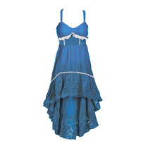 Vestido Broderie Corto Falda Irregular, Brishka, V-0003