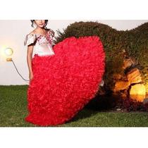 Vestido De 15 Color Rojo Estilo Veneciano Alquiler