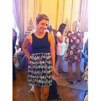 Increible Vestido De Diseño Pollera Con Pajaritos