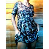 Diseño Único, Vestido De Seda Fría Estampado.