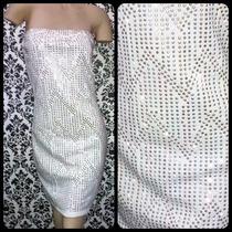 Vestido Strapless Blanco C/ Strass