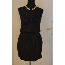 Vestido Strapless Corto Negro Mujer Verano Tramps