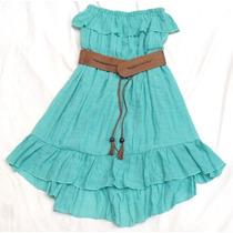 Vestido Strapless Mujer Con Cinturón Nuevo Talle