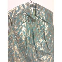 Vestido Brilloso, Color Verde Y Dorado, Sin Mangas. 103 X40