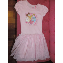 Vestido Nena Disney Store Rosa Estampas De Princesas Talle S