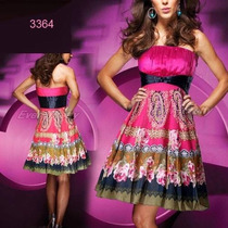 Super Vestido Corto Fiesta Importado Multicolor Moda Pasión
