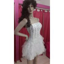 Vestido De 15 Corto Nuevo Hecho Blanco Con Piedras
