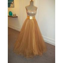 Vestido 15 Años Dorado C/falda Corta Todo A Medida