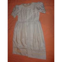Vestido Nena Fiesta Color Crema Con Cintas Talle 8