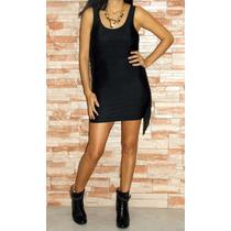 Vestido Corto Informal Negro Lycra Con Flecos