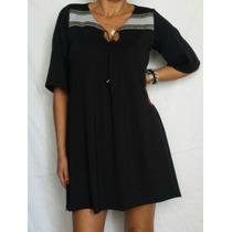 Vestido Modal Corte Folk Base Negra Suelto T2 Y T3