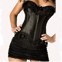 323-vestido Corset De Satin Negro Strapless Sexy Con Mini