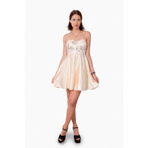 Vestido Corto De Raso Con Tiras, Brishka M-0042
