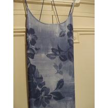 Vestido Largo Con Breteles Azul Estampado - Talle M - Usa