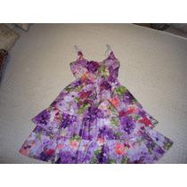 Vestido Floreado Violeta Con Volados