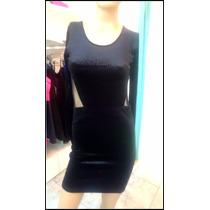 Vestido D Gamuza Negro Manga Larga Y Espalda C Transparencia