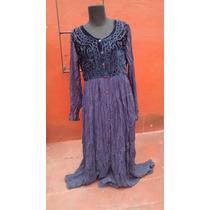 Vestido Hindu Largo Color Violeta Bordado Impecable