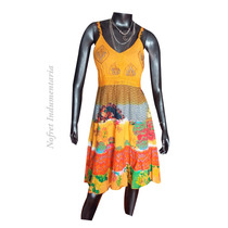 Vestido Solero Hindu Amarillo Estampado Nuevo Mujer- Talle M