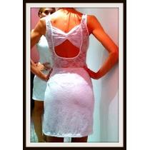 Vestido Al Cuerpo De Encaje Y Espalda Descubierta Blanco