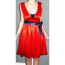 Vestido De Noche De Raso Rojo, Impecable!