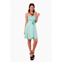 Vestido Elastizado Strapless Con Flor, Brishka M-0040