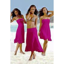 Vestido 3 En 1 Straples Pollera Solero Modal Jean Remera